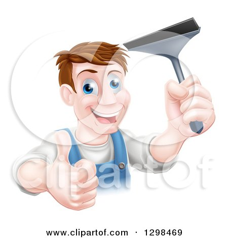 Clipart of a Happy Middle Aged Brunette Caucasian Window Cleaner Man Giving a Thumb up and Holding a Squeegee - Royalty Free Vector Illustration by AtStockIllustration