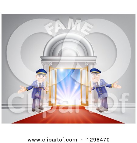 Clipart of a VIP Venue Entrance with Welcoming Friendly Doormen, Red Carpet and Fame Text - Royalty Free Vector Illustration by AtStockIllustration