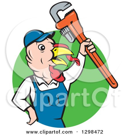 Clipart of a Cartoon Turkey Bird Plumber Worker Man Holding up a Monkey Wrench in a Green Circle - Royalty Free Vector Illustration by patrimonio