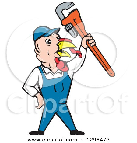 Clipart of a Cartoon Turkey Bird Plumber Worker Man Holding up a Monkey Wrench - Royalty Free Vector Illustration by patrimonio