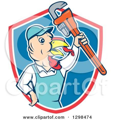 Clipart of a Cartoon Turkey Bird Plumber Worker Man Holding up a Monkey Wrench in a Red White and Blue Shield - Royalty Free Vector Illustration by patrimonio