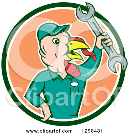 Clipart of a Cartoon Turkey Bird Worker Mechanic Man Holding up a Wrench in a Green White and Peach Circle - Royalty Free Vector Illustration by patrimonio