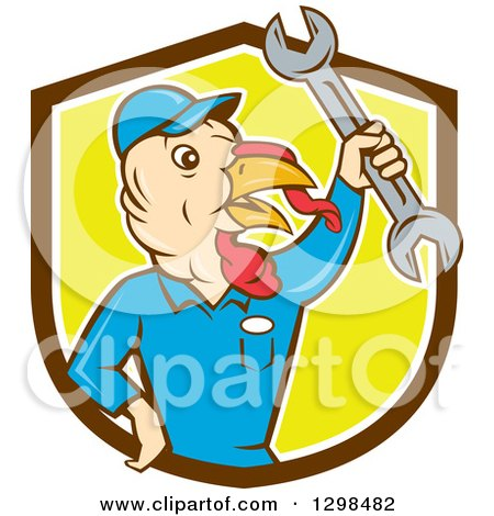 Clipart of a Cartoon Turkey Bird Worker Mechanic Man Holding up a Wrench in a Brown White and Yellow Shield - Royalty Free Vector Illustration by patrimonio