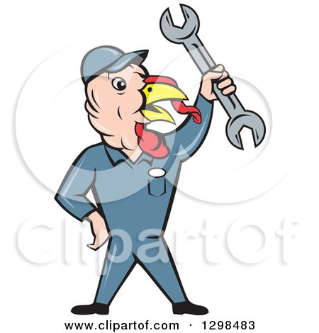 Clipart of a Cartoon Turkey Bird Worker Mechanic Man Holding up a Wrench - Royalty Free Vector Illustration by patrimonio