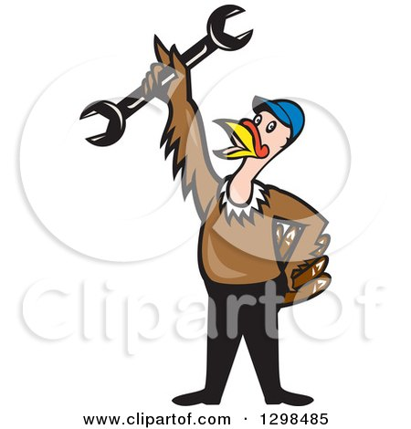 Clipart of a Cartoon Turkey Bird Worker Mechanic Man Holding up a Wrench Tool - Royalty Free Vector Illustration by patrimonio