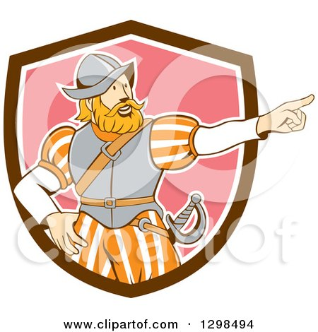 Clipart of a Retro Cartoon Spanish Conquistador Pointing in a Brown White and Pink Shield - Royalty Free Vector Illustration by patrimonio