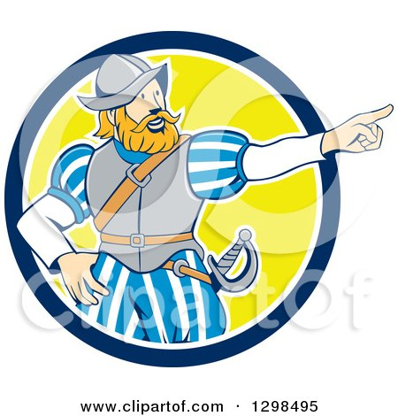 Clipart of a Cartoon Spanish Conquistador Pointing in a Blue White and Yellow Circle - Royalty Free Vector Illustration by patrimonio
