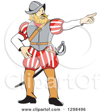 Clipart of a Cartoon Spanish Conquistador Pointing - Royalty Free Vector Illustration by patrimonio