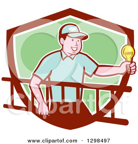 Clipart of a Retro Cartoon White Male Electrician Carrying a Ladder and Holding a Light Bulb in a Maroon White and Green Shield - Royalty Free Vector Illustration by patrimonio