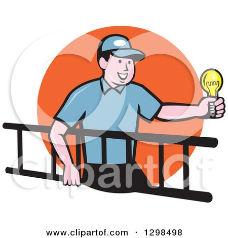 Clipart of a Cartoon White Male Electrician Carrying a Ladder and Holding a Light Bulb over an Orange Circle - Royalty Free Vector Illustration by patrimonio