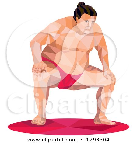 Clipart of a Low Poly Squatting Sumo Wrestler - Royalty Free Vector Illustration by patrimonio