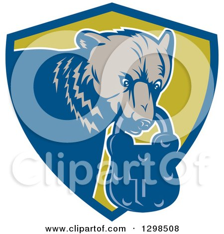 Clipart of a Retro Woodcut Grizzly Bear with a Padlock in His Mouth, Emerging from a Blue and Green Shield - Royalty Free Vector Illustration by patrimonio