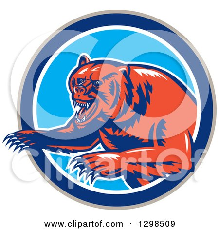 Clipart of a Retro Woodcut Vicious Grizzly Bear Emerging from a Taupe Blue and White Circle - Royalty Free Vector Illustration by patrimonio