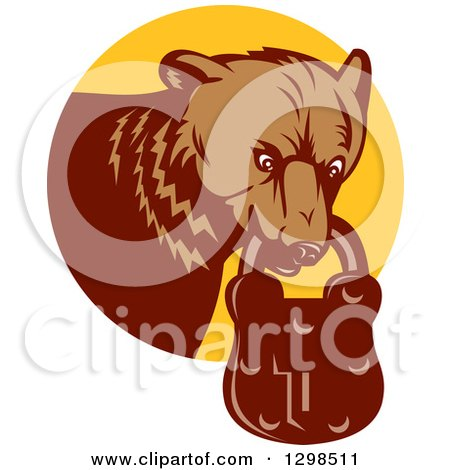 Clipart of a Retro Woodcut Grizzly Bear with a Padlock in His Mouth, Emerging from a Yellow Circle - Royalty Free Vector Illustration by patrimonio
