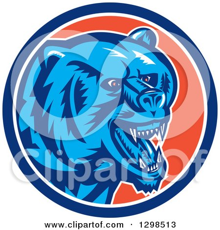 Clipart of a Retro Woodcut Red Eyed Vicious Grizzly Bear in a Blue White and Orange Circle - Royalty Free Vector Illustration by patrimonio