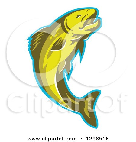 Clipart of a Retro Leaping Trout Fish with a Blue Outline - Royalty Free Vector Illustration by patrimonio