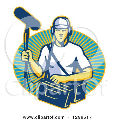 Clipart of a Retro White Male Film Crew Sound Man Emerging from a Sunshine Oval - Royalty Free Vector Illustration by patrimonio