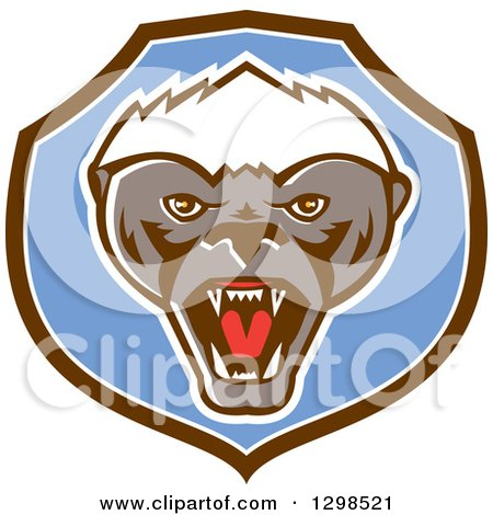 Clipart of a Retro Angry Honey Badger in a Brown White and Blue Shield - Royalty Free Vector Illustration by patrimonio