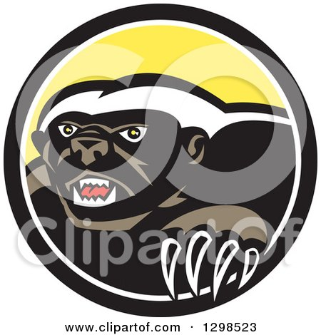Clipart of a Retro Honey Badger in a Black White and Yellow Circle - Royalty Free Vector Illustration by patrimonio