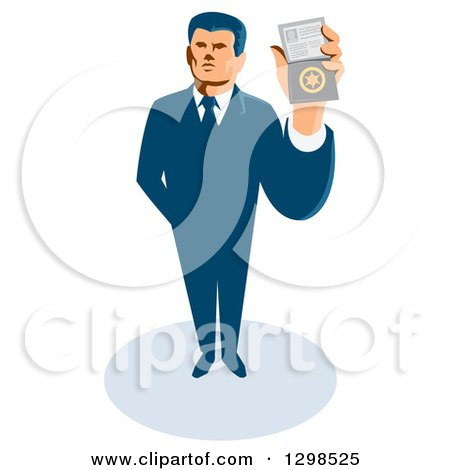 Clipart of a Retro White Male Secret Agent Holding up an Id Badge - Royalty Free Vector Illustration by patrimonio