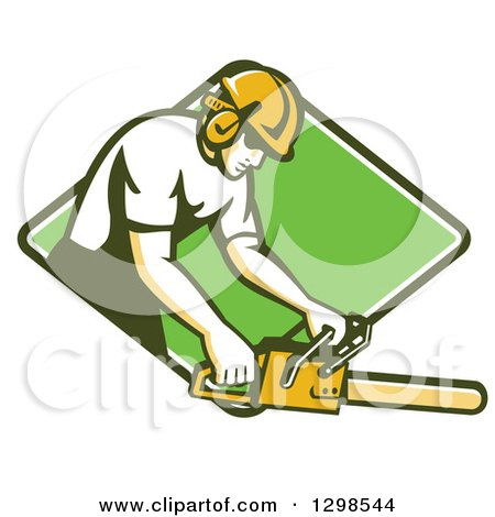 Clipart of a Retro White Male Arborist Using a Chainsaw in a Green and White Diamond - Royalty Free Vector Illustration by patrimonio