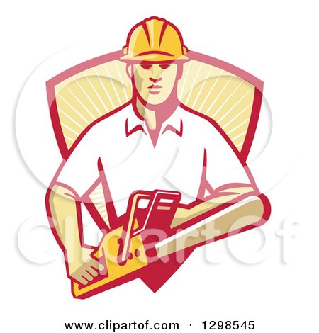 Clipart of a Retro White Male Arborist Using a Chainsaw and Emerging from a Red and Yellow Sunshine Shield - Royalty Free Vector Illustration by patrimonio