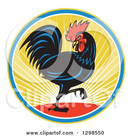 Clipart of a Retro Marching Black Rooster in a Circle of Sunshine - Royalty Free Vector Illustration by patrimonio