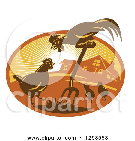 Clipart of a Retro Rooster, Hen and Chicks with a Pitchfork by a Farm House in a Sunshine Oval - Royalty Free Vector Illustration by patrimonio