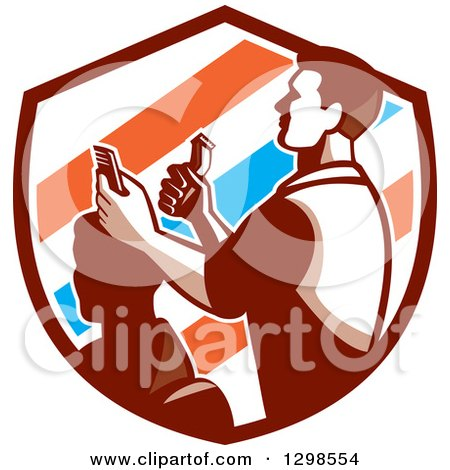 Clipart of a Retro Male Barber Cutting a Client's Hair with Clippers in a Barber Pole Striped Shield - Royalty Free Vector Illustration by patrimonio