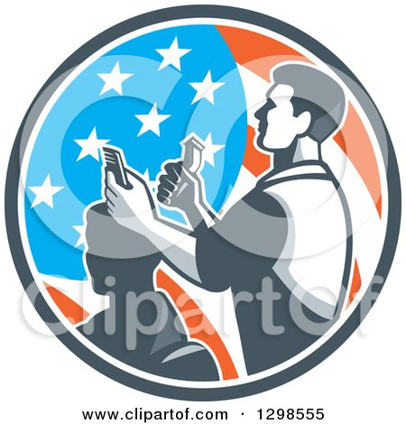Clipart of a Retro Male Barber Cutting a Client's Hair with Clippers in an American Flag Circle - Royalty Free Vector Illustration by patrimonio