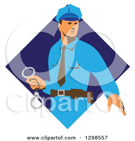 Clipart of a Retro White Male Police Officer Holding Cuffs in a Blue Diamond - Royalty Free Vector Illustration by patrimonio