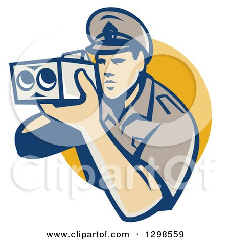 Clipart of a Retro White Male Police Officer Using a Speed Radar Camara and Emerging from a Yellow Circle - Royalty Free Vector Illustration by patrimonio