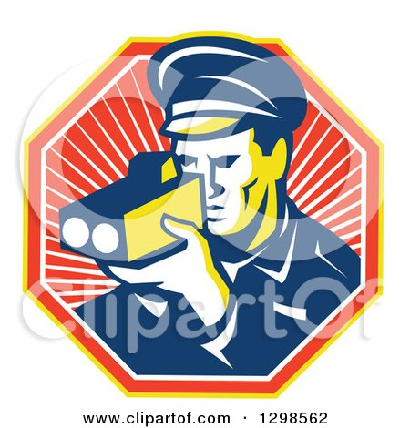 Clipart of a Retro Male Police Officer Using a Speed Radar Camara in a Ray Octagon - Royalty Free Vector Illustration by patrimonio