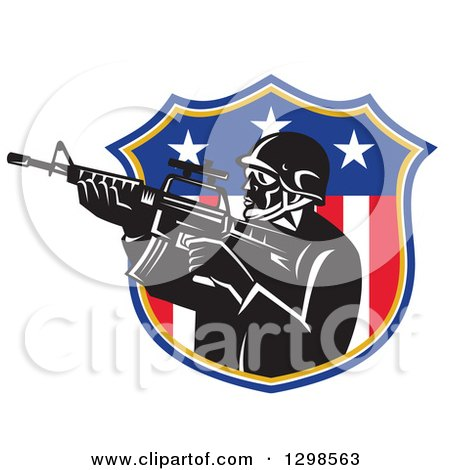 Clipart of a Retro American Soldier Swat Police Man with an M4 Carbine Rifle in an American Shield - Royalty Free Vector Illustration by patrimonio