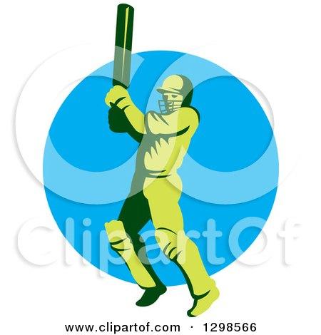 Clipart of a Retro Green Cricket Batsman over a Blue Circle - Royalty Free Vector Illustration by patrimonio