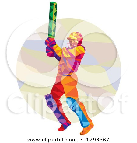Clipart of a Colorful Low Poly Cricket Batsman over a Circle - Royalty Free Vector Illustration by patrimonio