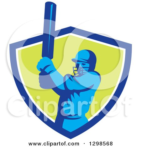 Clipart of a Retro Cricket Batsman Emerging from a Blue White and Green Shield - Royalty Free Vector Illustration by patrimonio