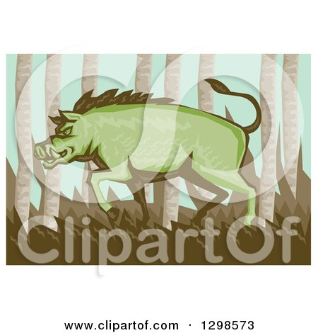 Clipart of a Retro Woodcut Green Razorback Boar Pig in the Woods, with a White Border - Royalty Free Vector Illustration by patrimonio