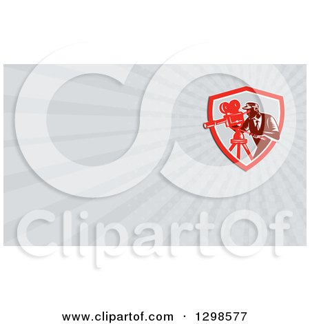 Clipart of a Retro Woodcut Male Cameraman and Gray Rays Background or Business Card Design - Royalty Free Illustration by patrimonio