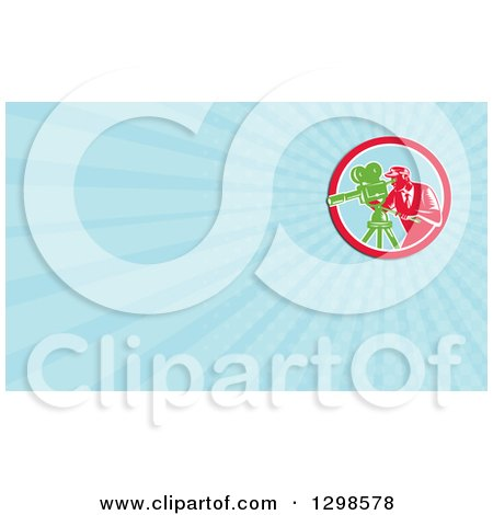 Clipart of a Retro Woodcut Male Cameraman and Sky Blue Rays Background or Business Card Design - Royalty Free Illustration by patrimonio