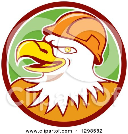 Clipart of a Cartoon Bald Eagle Construction Worker Wearing a Hardhat in a Maroon White and Green Circle - Royalty Free Vector Illustration by patrimonio