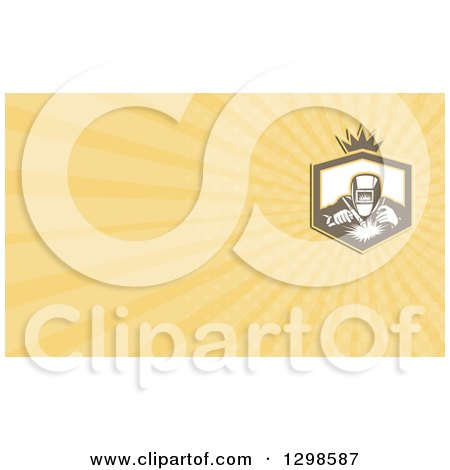 Clipart of a Retro Welder and Yellow Rays Background or Business Card Design - Royalty Free Illustration by patrimonio
