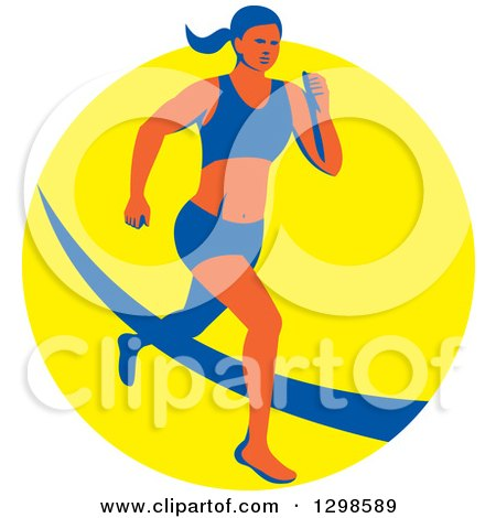 Clipart of a Retro Female Marathon Runner over a Yellow Circle - Royalty Free Vector Illustration by patrimonio