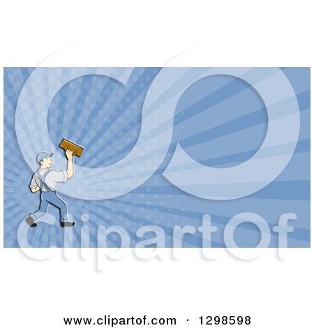Clipart of a Cartoon White Male Plasterer and Purple Rays Background or Business Card Design - Royalty Free Illustration by patrimonio