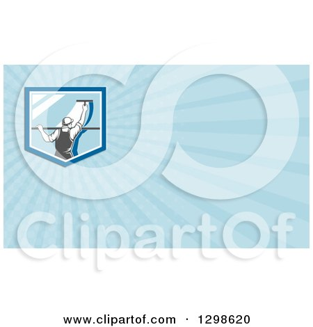 Clipart of a Retro Window Washer Using a Squeegee and Blue Rays Background or Business Card Design - Royalty Free Illustration by patrimonio