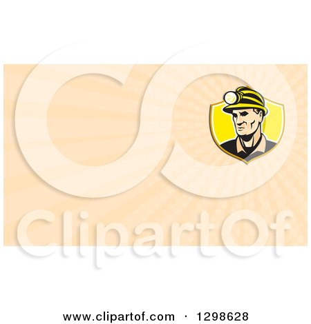Clipart of a Retro Caucasian Male Miner with a Headlamp and Pastel Orange Rays Background or Business Card Design - Royalty Free Illustration by patrimonio