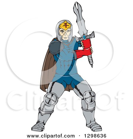 Clipart of a Cartoon Super Hero Knight with a Sword - Royalty Free Vector Illustration by patrimonio