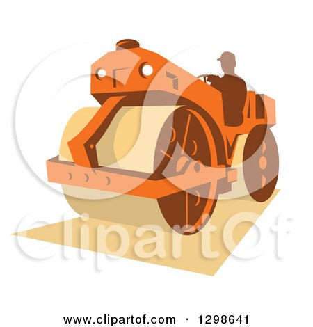 Clipart of a Retro Silhouetted Man Operating a Road Roller Machine - Royalty Free Vector Illustration by patrimonio