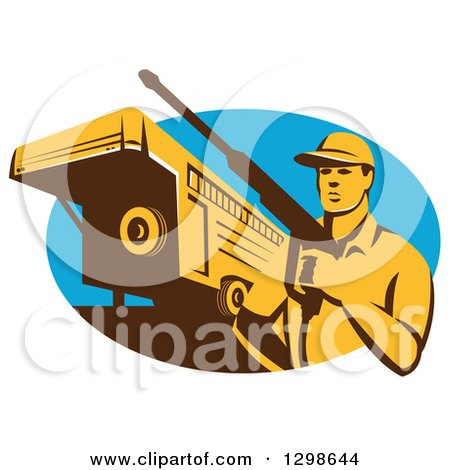 Clipart of a Retro Male Pressure Washer with a Stock Trailer in a Blue Oval - Royalty Free Vector Illustration by patrimonio