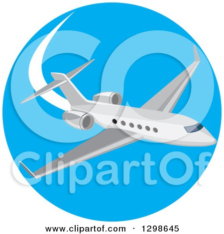 Clipart of a Flying White Airplane Inside a Blue Circle - Royalty Free Vector Illustration by patrimonio